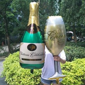 Other - NWT 6 Pc Champagne Bottle & Goblet Helium Balloons